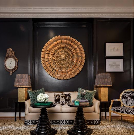 A Living Room With Glossy Black Paint