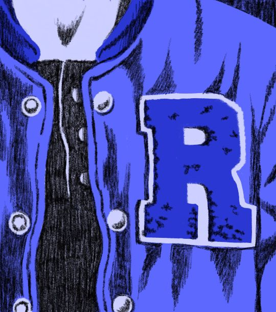 An illustration of a letter jacket with a large R on the front for Riverdale High School.