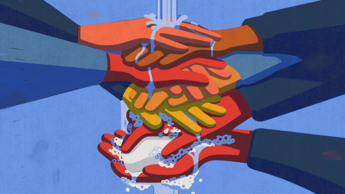 Illustration of a stack of people's hands, with water streaming from above, as they lather up with soap together.