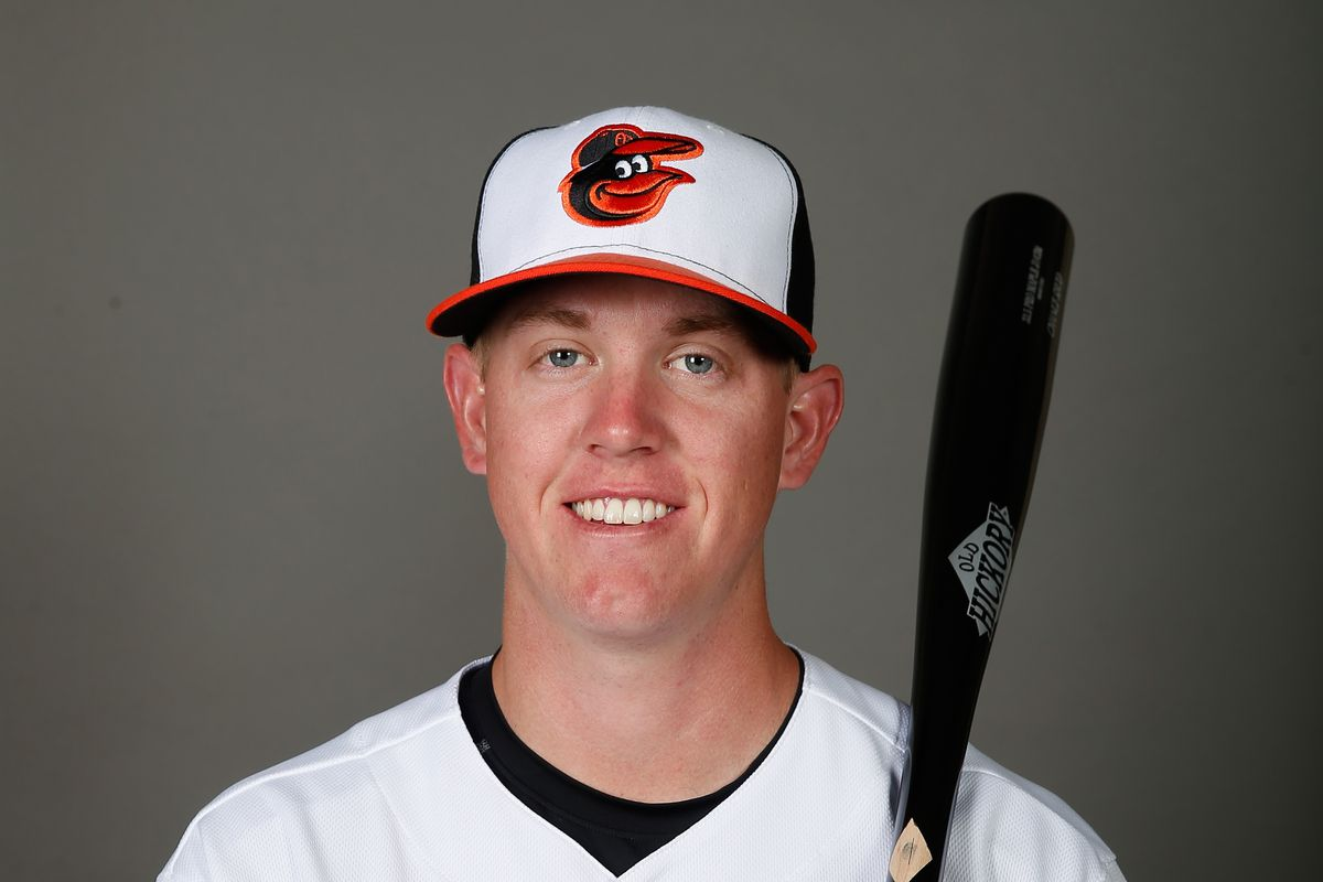 Orioles prospect Chance Sisco holding a bat for a spring training photo.