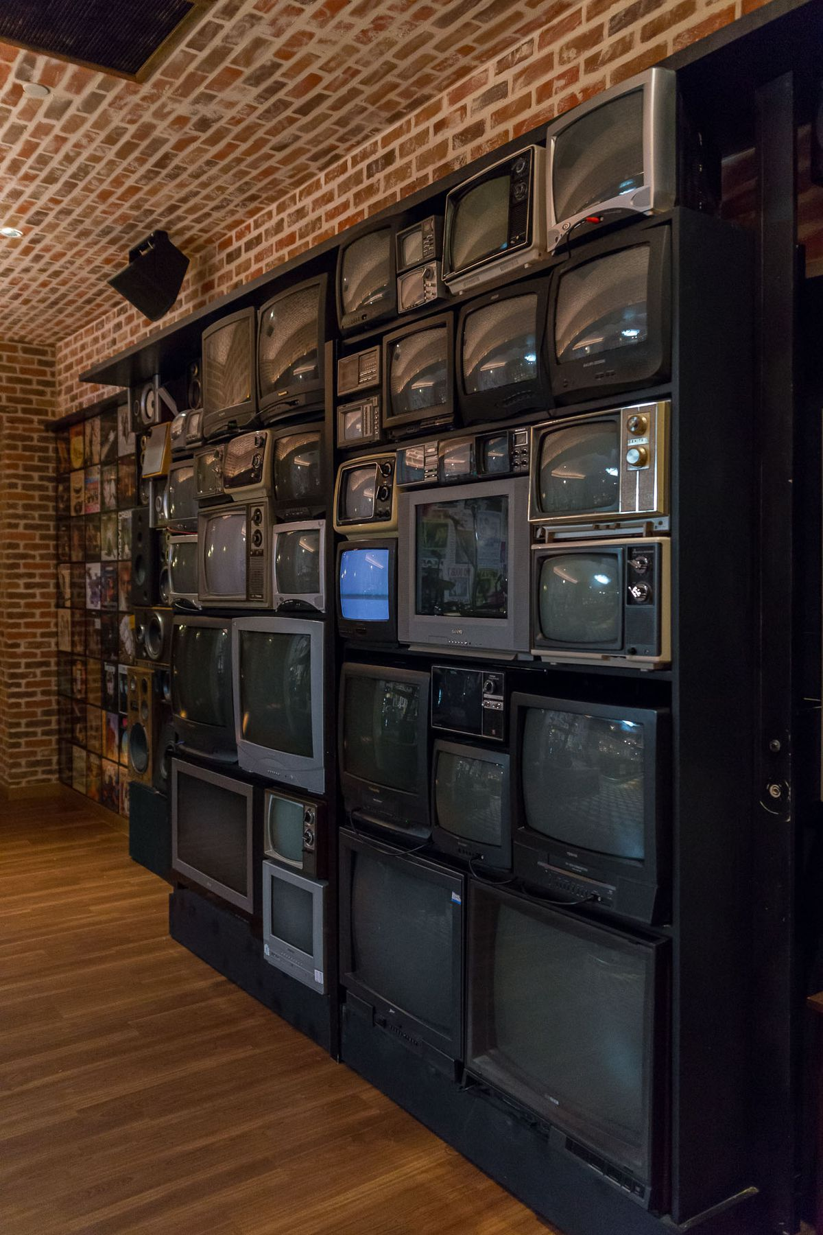 The wall of TVs at On the Record