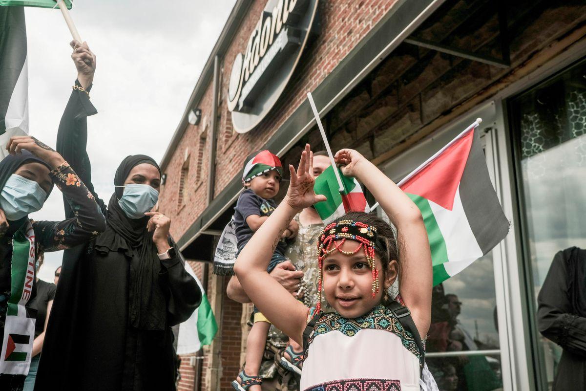 A young girl waves a Palestinian flag.