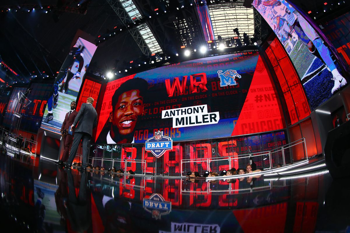Anthony Miller on the video screen after being chosen by the Chicago Bears with the 51st pick during the second round of the 2018 NFL Draft on April 27, 2018, at AT&T Stadium in Arlington, TX.