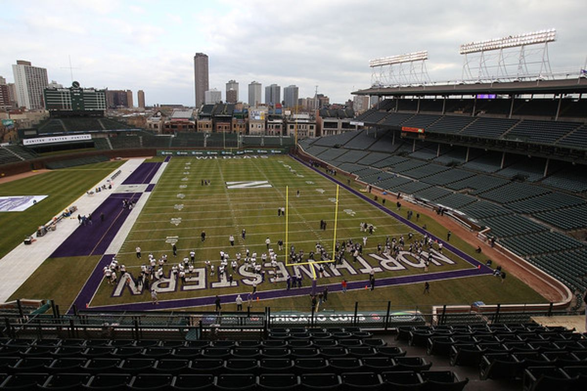 CHICAGO - NOVEMBER 18: A general view as the Northwestern Wildcats practice for a game against the Illinois Fighting Illini on Saturday November 20 at Wrigley Field on November 18 2010 in Chicago Illinois. (Photo by Jonathan Daniel/Getty Images)