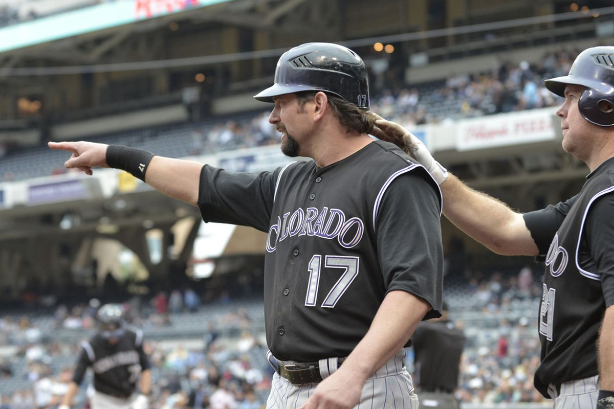 Todd Helton points the way to Casper.