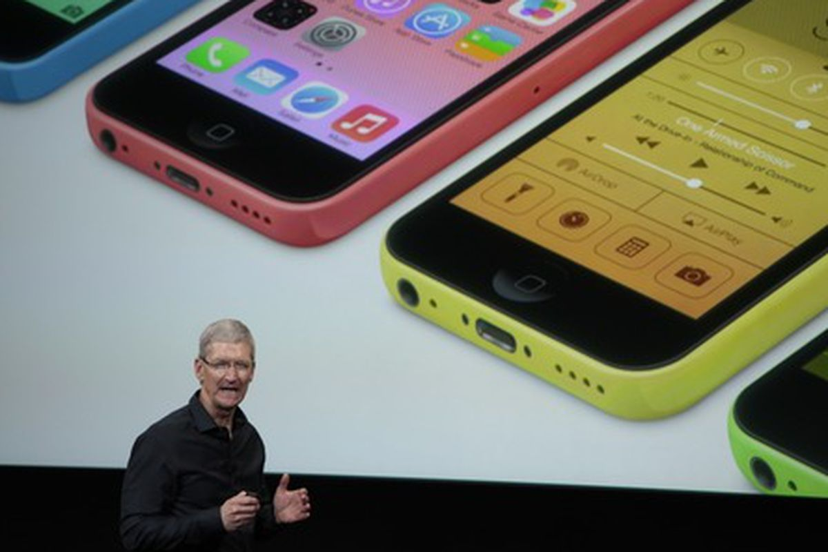 """The iPhone 5C, via <a href=""""http://www.wired.com/gadgetlab/2013/09/apple-iphone-live-blog/"""">Wired</a>."""