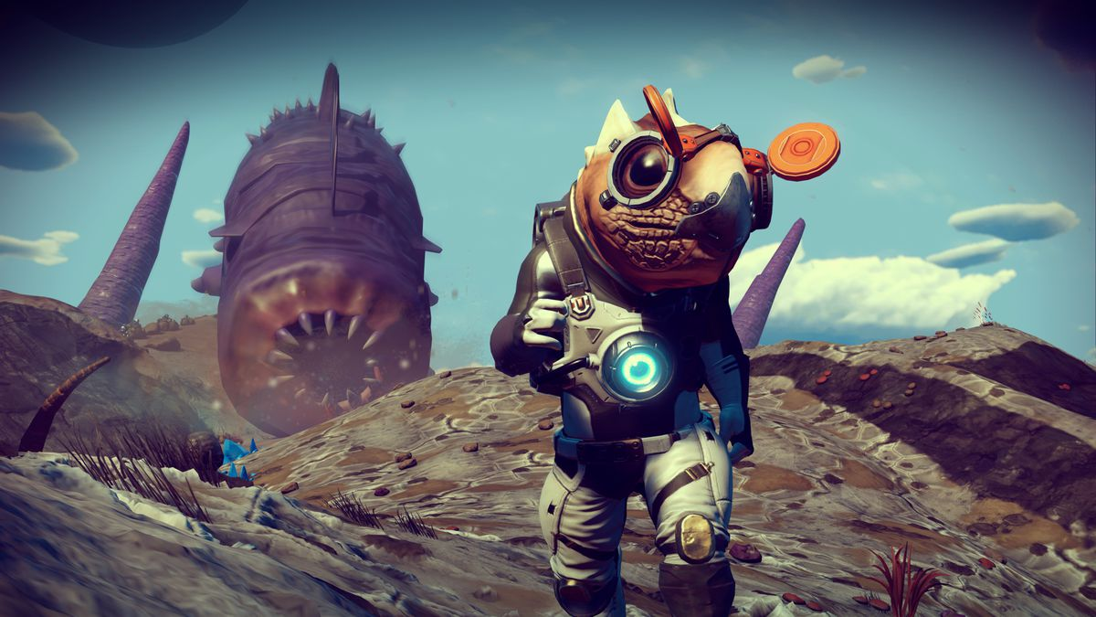A giant sandworm chases an alien astronaut in a screenshot from No Man's Sky: Origins
