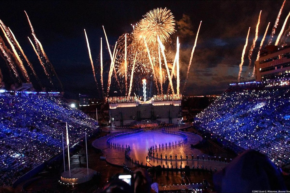 FILE - Fireworks explode during the 2002 Winter Olympic Games closing ceremony Sunday, Feb 24, 2002 at Rice-Eccles Stadium.