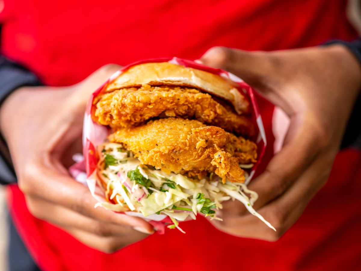 A classic fried chicken sandwich with slaw from Roaming Rooter