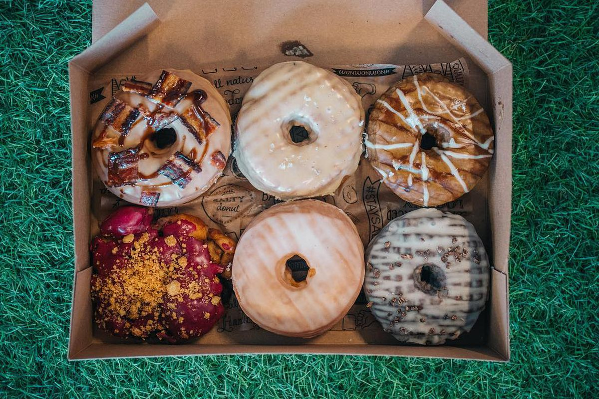 Six different donuts in a box