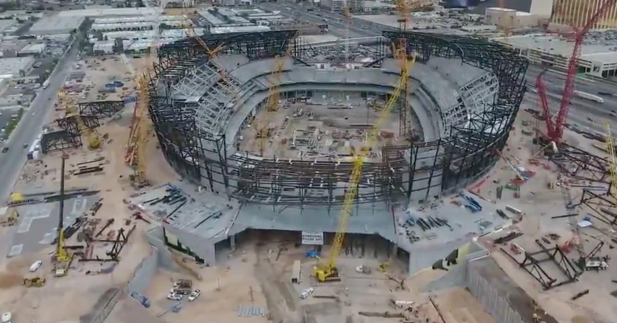 Watch: Drone footage of Raiders Las Vegas stadium under construction