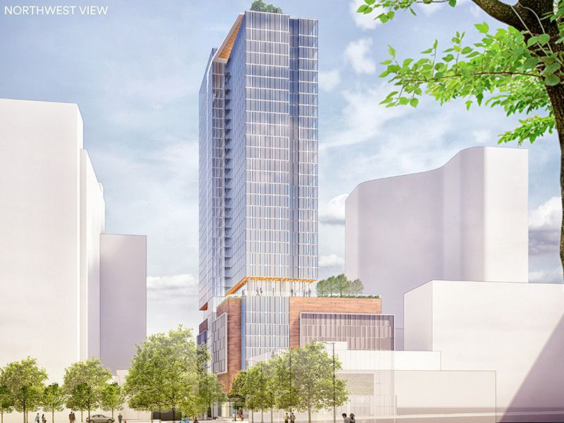 A rendering of a glassy new high rise in Atlanta.