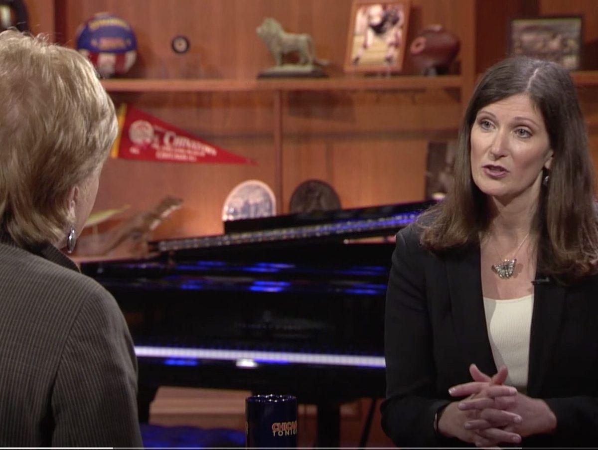 "Carol Marin, left, interviews then-Legislative Inspector General Julie Porter on WTTW-TV's ""Chicago Tonight"" in 2017."