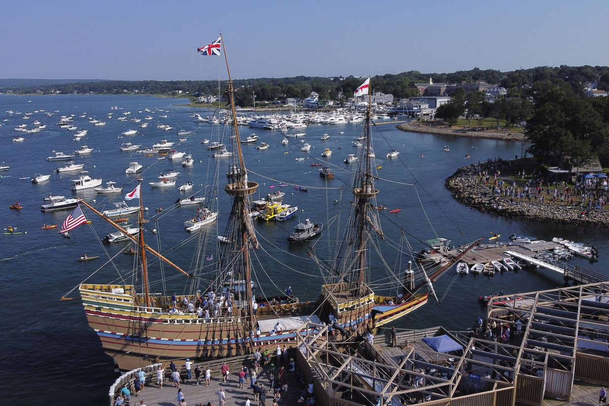 The Mayflower II, a replica of the original Mayflower ship that brought the Pilgrims to America 400 year ago, docks into Plymouth, Mass., as it returns home following extensive renovations, Monday, Aug. 10, 2020.