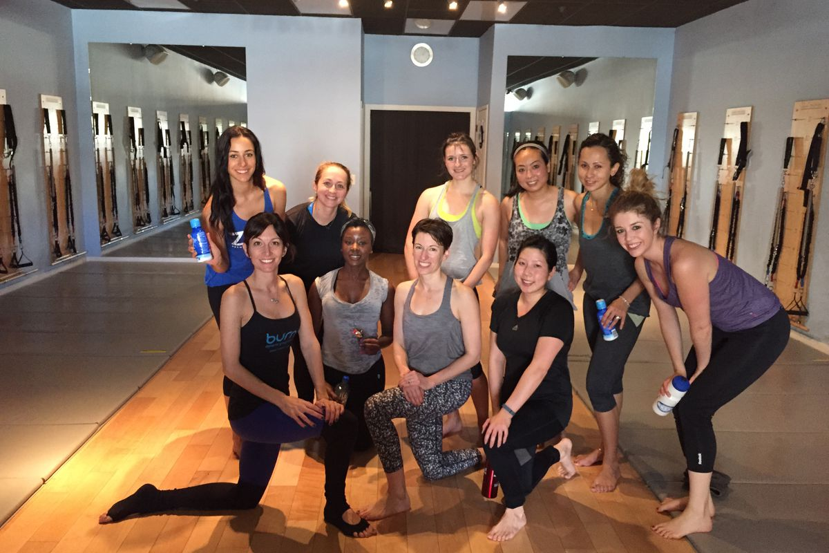 Lisa Corsello (bottom left) with some of Saturday's Racked Fit Club participants.