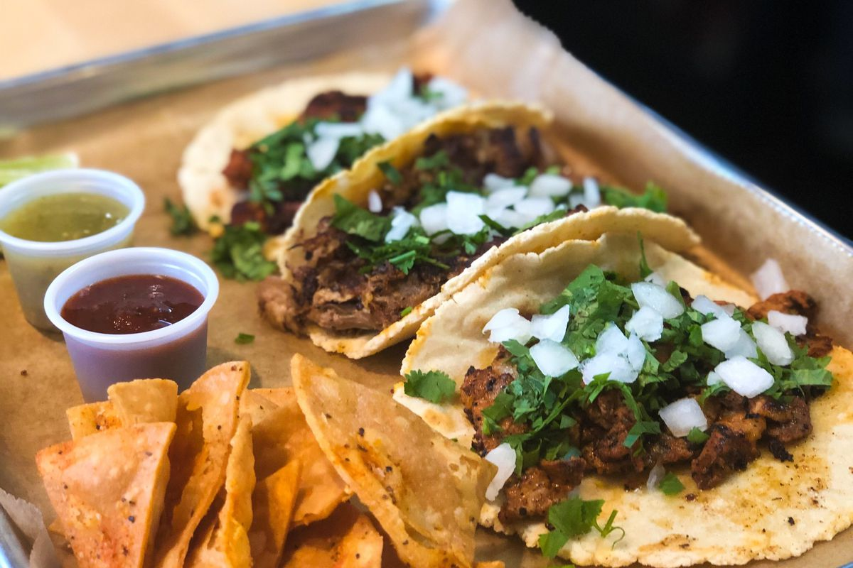 A picture of three tacos at Tight Tacos
