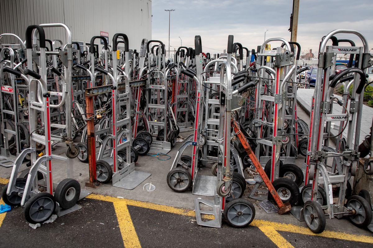 Many hand trucks