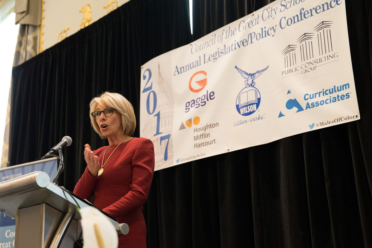 U.S. Education Secretary Betsy DeVos speaking to the Council of Great City Schools.