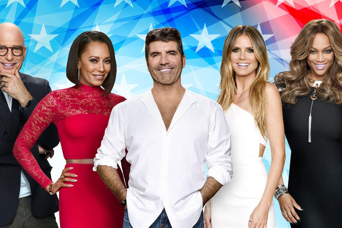 """""""America's Got Talent"""" judges (from left to right) Howie Mandel, Mel B, creator and judge Simon Cowell, Heidi Klum and host Tyra Banks. Young ventriloquist Darci Lynne wowed this group in a viral video featured on today's The Clean Cut."""