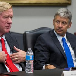 Libertarian presidential candidate Gary Johnson, right, and his running mate, Bill Weld, left, speak with the Deseret News and KSL editorial board in Salt Lake City on Friday, Aug. 19, 2016.