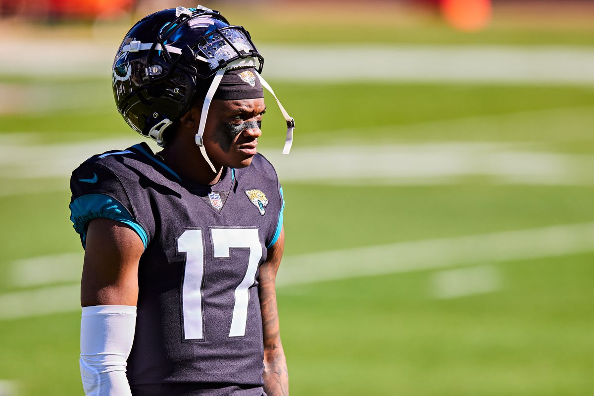 DJ Chark Jr. #17 of the Jacksonville Jaguars looks on before the start of a game against the Chicago Bears at TIAA Bank Field on December 27, 2020 in Jacksonville, Florida.