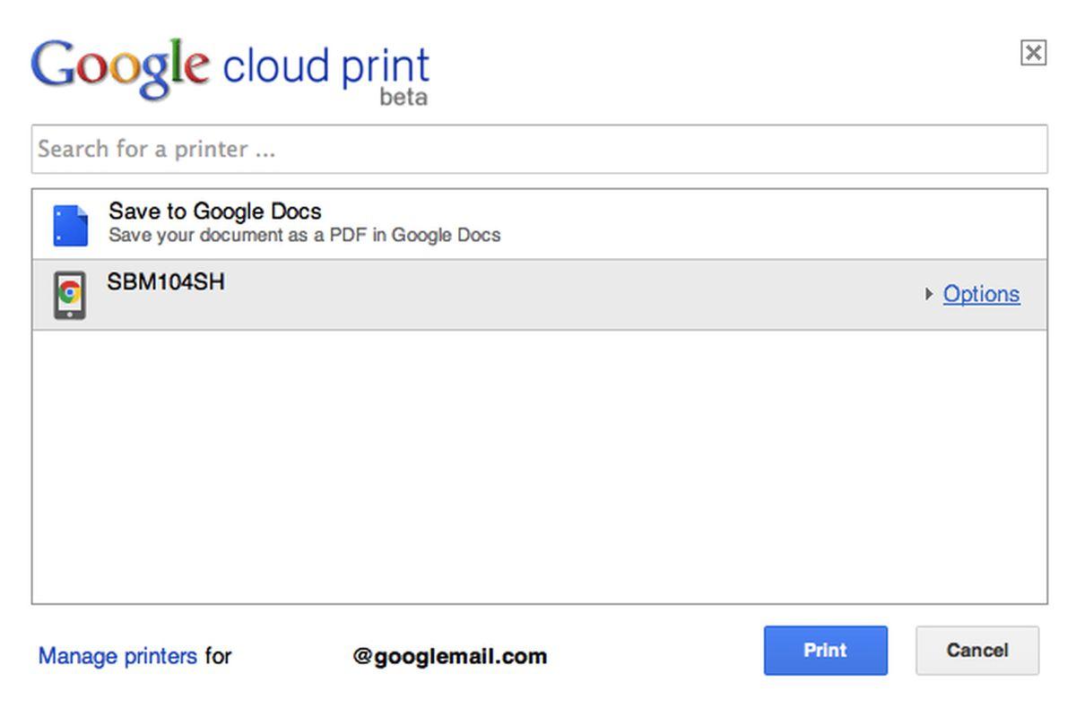 google cloud print