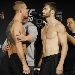 Jason Knight and Jordan RInaldi square off at UFC 230 weigh-ins.