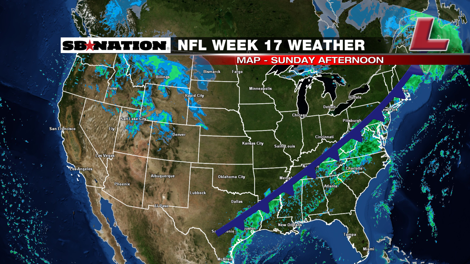 NFL weather forecast, Week 17: Rainy weather in the