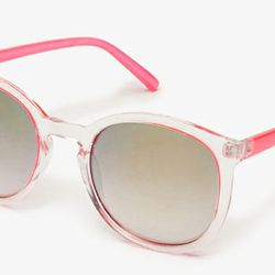 """Transparent: <b>Forever 21</b> Mirrored Round Sunglasses in pink/clear, <a href=""""http://www.forever21.com/Product/Product.aspx?BR=f21&Category=glasses&ProductID=1046827113&VariantID="""">$5.80</a>"""
