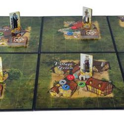 The board game shows the village of Wickersby, the different locations and the villagers.