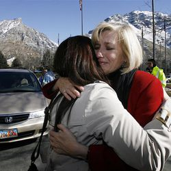 Sister Chelsea Buma hugs her mother Carolyn and says goodbye as she arrives at the Provo Missionary Training Center of The Church of Jesus Christ of Latter-day Saints in Provo, Utah, Wednesday, Feb. 2, 2011.