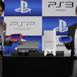 Sony Computer Entertainment Inc. President and CEO, Andrew House, right, and Sony Computer Entertainment Japan President Hiroshi Kawano  show the new PlayStation 3 and PS VITA  during a news conference in Tokyo, Wednesday, Sept. 19, 2012.  Sony Corp. is introducing a smaller, slimmer and lighter version of its PlayStation 3 home console ahead of the year-end holidays as it gears up for growing competition in games from smartphones.