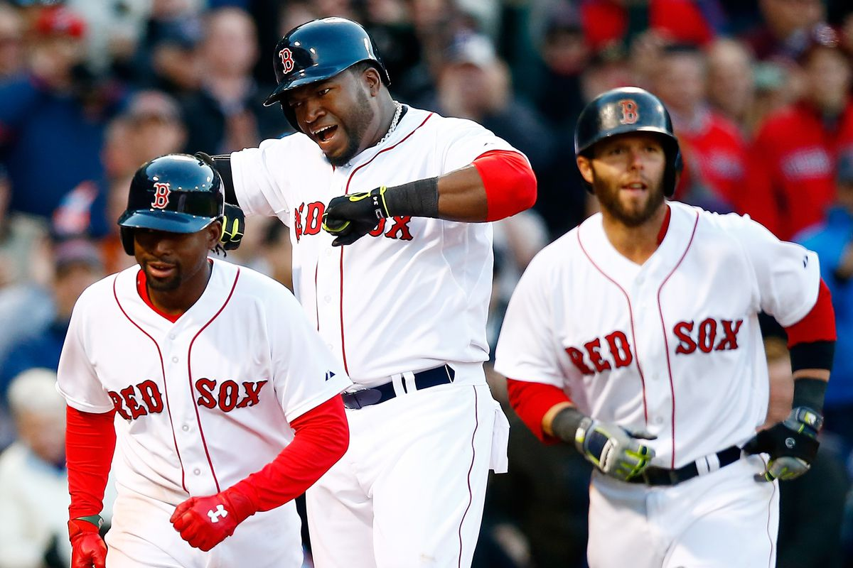 From left to right: rookie Jackie Bradley, slugger David Ortiz, and former MVP Dustin Pedroia, who suffers from a genetic case of blurriness.