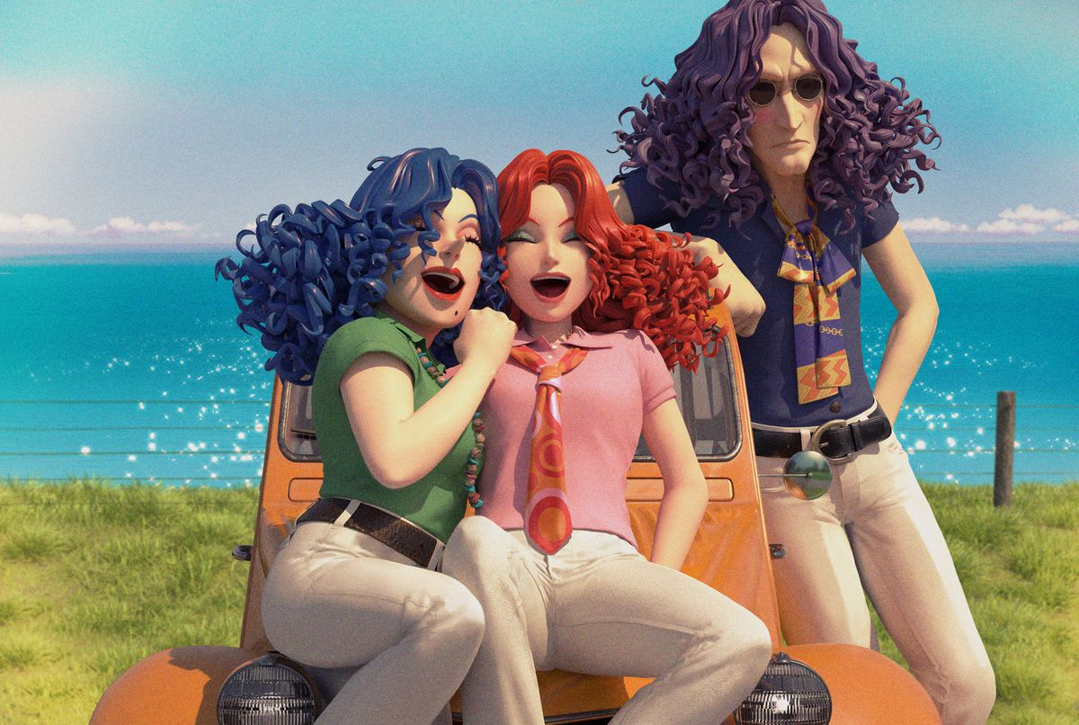 """A photo of a woman with long curly blue hair, a woman with long curly red hair, and a man with long curly purple hair. The women are sitting and the man is standing next to an orange Volkswagen bug, parked in front of a giant sparkling body of water on a bright sunny day. They are all young and the two women are smiling. The man has sunglasses and a """"cool"""" expression. It's a very happy memory."""