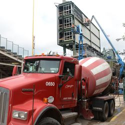 11:38 a.m. Concrete truck waiting at the work gate on Sheffield -