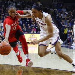 The Cincinnati Bearcats take on the UConn Huskies in a women's college basketball game at Gampel Pavilion in Storrs, CT on January 9, 2019.