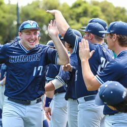 BYU's Keaton Kringlen goes through introductions prior to the Cougars' 13-2 loss to Cal State Fullerton in NCAA baseball tournament action on Thursday, June 1, 2017, at Klein Field at Sunken Diamond in Stanford, California.