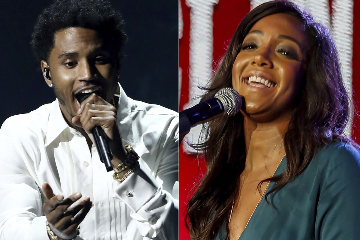 """Trey Songz performing at the BET Awards in Los Angeles on June 25, 2017, Mickey Guyton performing at the PBS's American Masters """"Patsy Clyne"""" panel at the 2017 Television Critics Association press tour in Pasadena, Calif., on Jan. 15, 2017"""