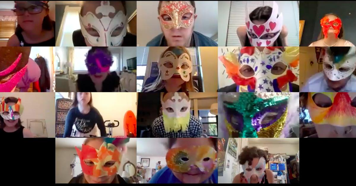 The Monday ensemble shows their homemade masks.