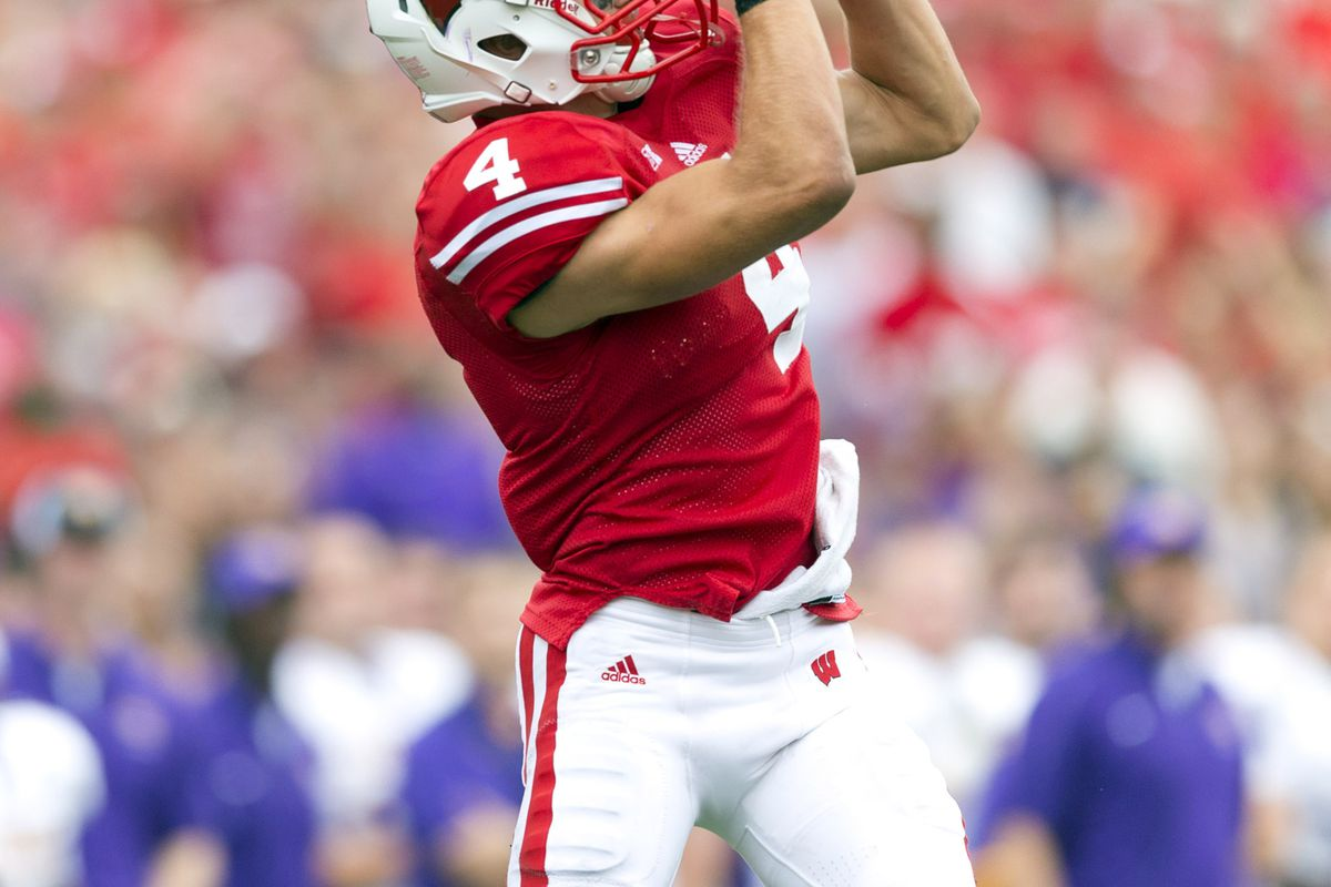 Jared Abbrederis exited Wisconsin's game against Oregon State in the first half with an apparent chest injury.