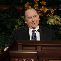 LDS Church President Thomas S. Monson speaks during a session of  general conference in 2011.