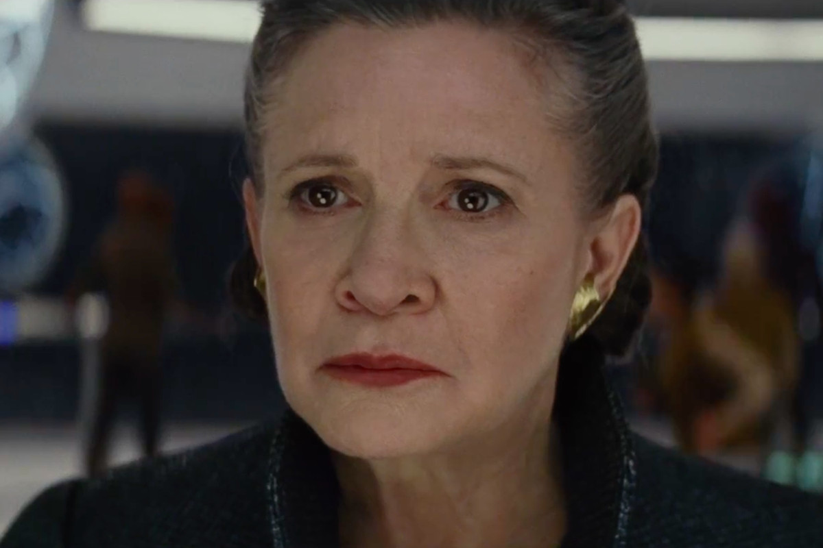 Carrie Fisher as General Leia Organa in a trailer for Star Wars: The Last Jedi