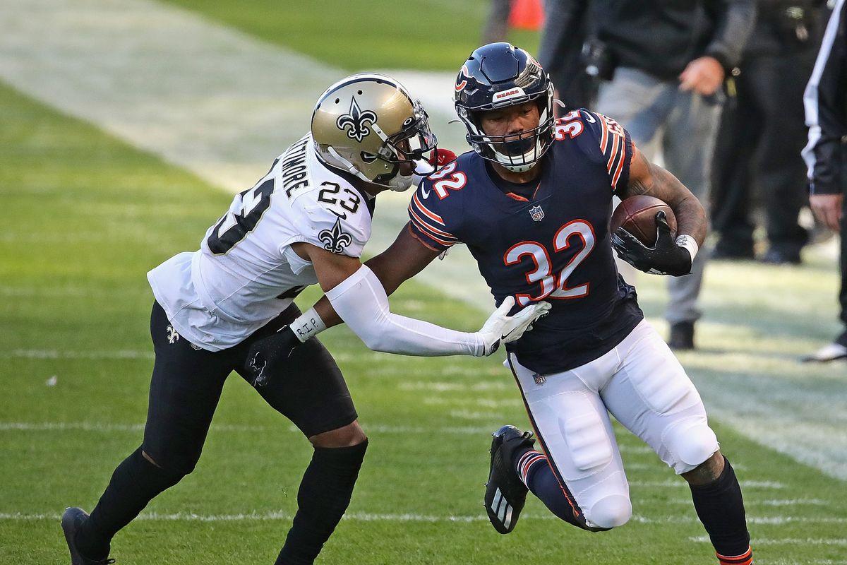 Bears running back David Montgomery runs in Week 8 against the Saints.