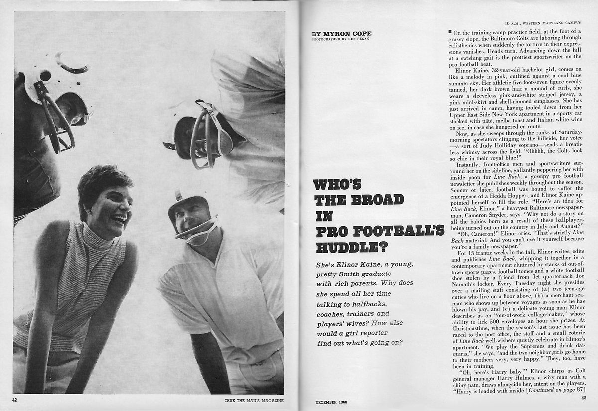 """spread of Elinor in a football huddle on the left and headline on the right reading, """"Who's the broad in pro football's huddle?"""""""
