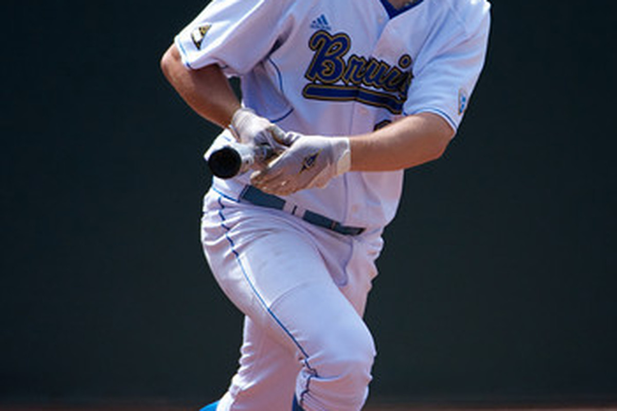 """Cody Regis reached base in all four at bats and drove in three for UCLA (Photo Credit: <a href=""""http://www.scottwuphotography.com/Sports/UCLA-Sports/110403UCLABaseballvWA/16467722_7dHpi#1239152772_oRyhW"""" target=""""new"""">Scott Wu</a>)"""