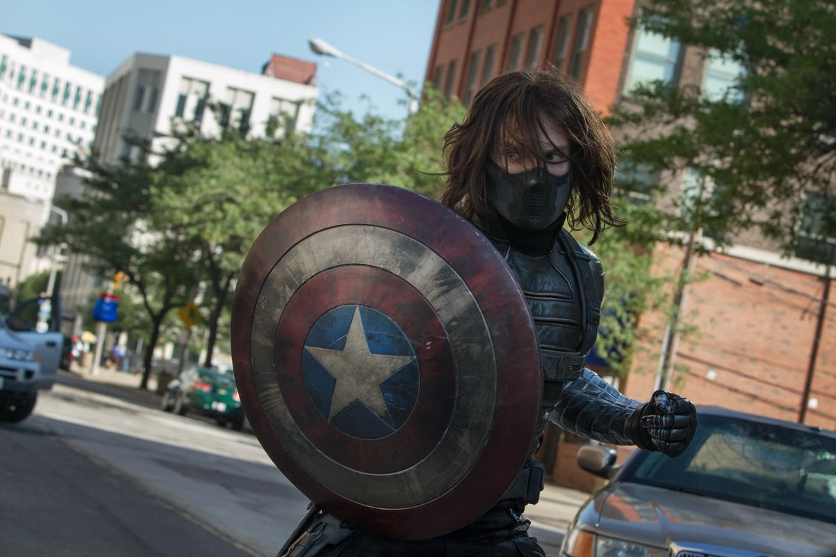Captain America: The Winter Soldier - the Winter Soldier holding Captain America's shield