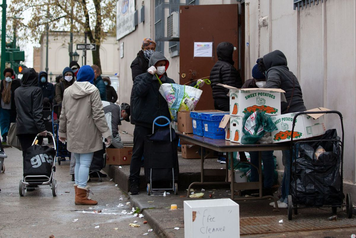 A Crown Heights church on Rogers Avenue gives away food during the coronavirus outbreak.