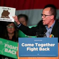 """Democratic National Committee Chairman Tom Perez speaks during the """"Come Together and Fight Back"""" tour at the Rail Event Center in Salt Lake City on Friday, April 21, 2017. The tour is part of the process of creating a Democratic Party that is strong and active in all 50 states, and a party that focuses on grass-roots activism and the needs of working families."""