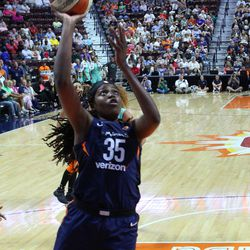 The New York Liberty take on the Connecticut Sun in a WNBA game at Mohegan Sun Arena in Uncasville, CT on August 1, 2018.