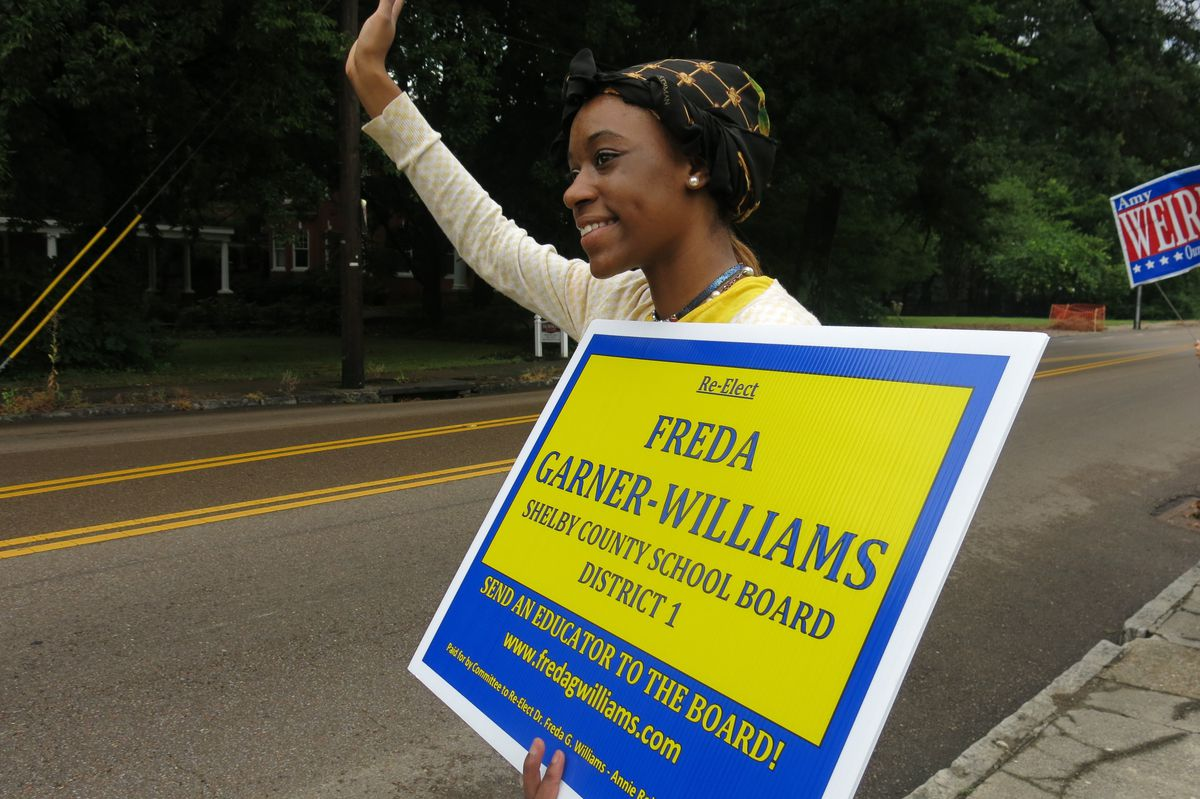 Freda Garner Williams' granddaughter, Danielle Gipson, campaigns for the District 1 seat. Gipson, 17, is a student at Hollis F. Price Early Middle College High School.